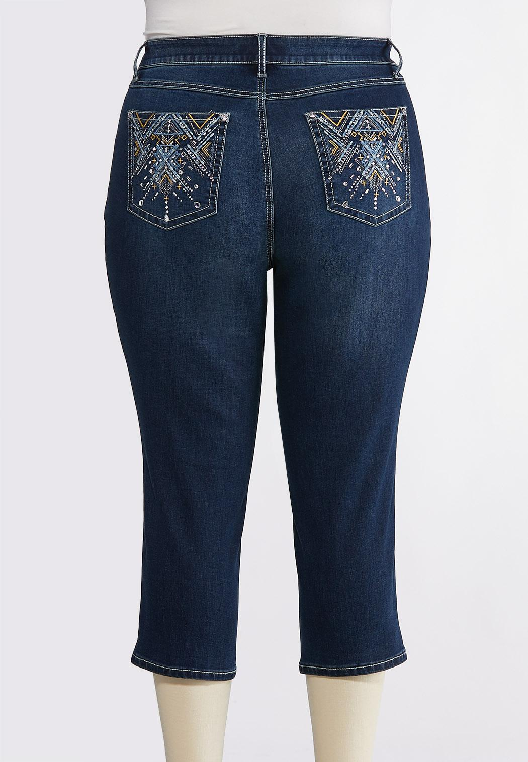 Plus Size Cropped Aztec Embellished Jeans