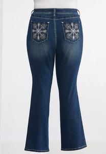 Plus Size Sparkling Pocket Jeans