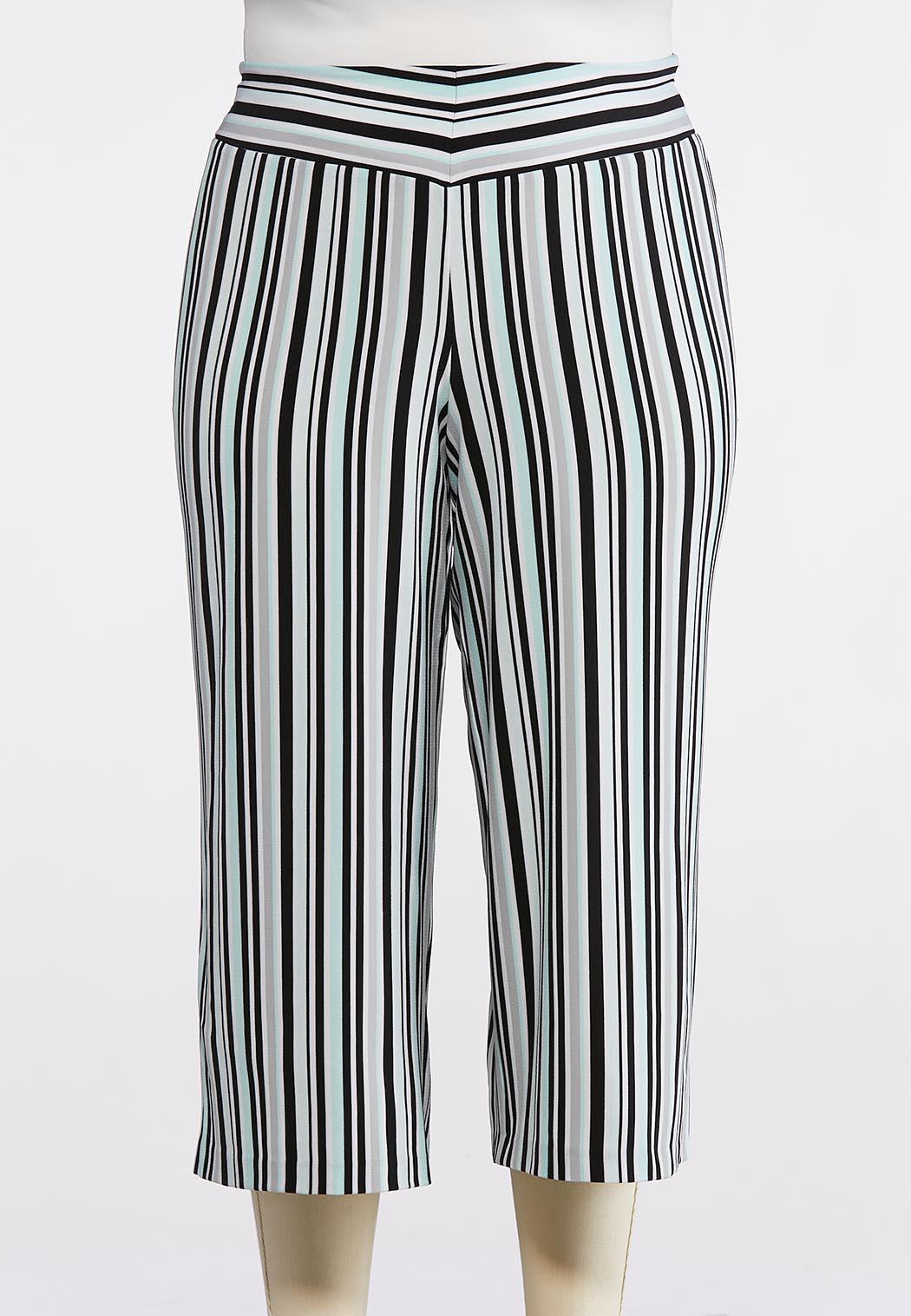 Plus Size Cropped Stripe Pants
