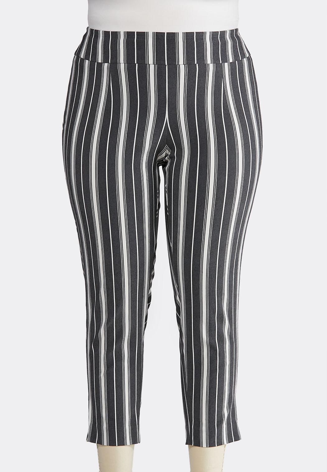 Plus Size Stripe Bengaline Pants