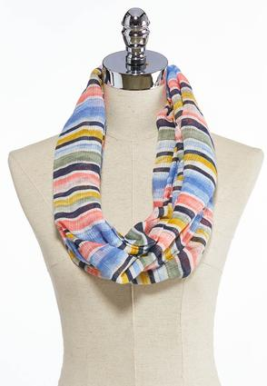 Multi Color Striped Infinity Scarf
