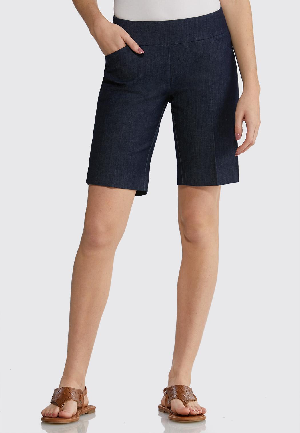 Pull-On Denim Bermuda Shorts