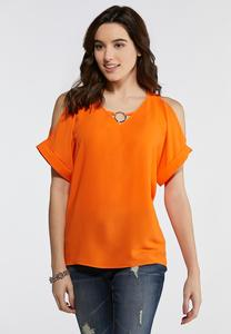 Plus Size Hardware Cold Shoulder Top