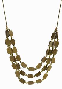 Wood Block Multi Row Cord Necklace