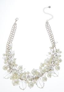 Shaky Pearl Glass Bib Necklace