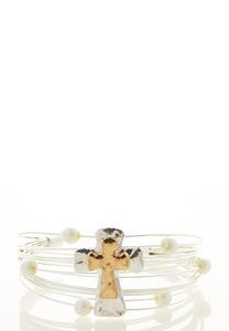 Cross Pearl Wire Cuff Bracelet