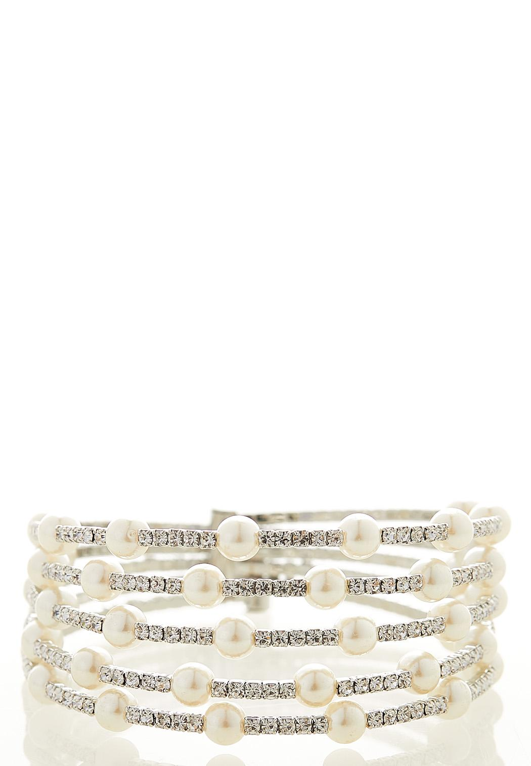 Floating Pearl Rhinestone Cuff Bracelet