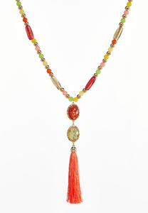 Tassel Pendant Rasta Bead Necklace