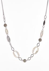 Oval Lucite Link Chain Necklace