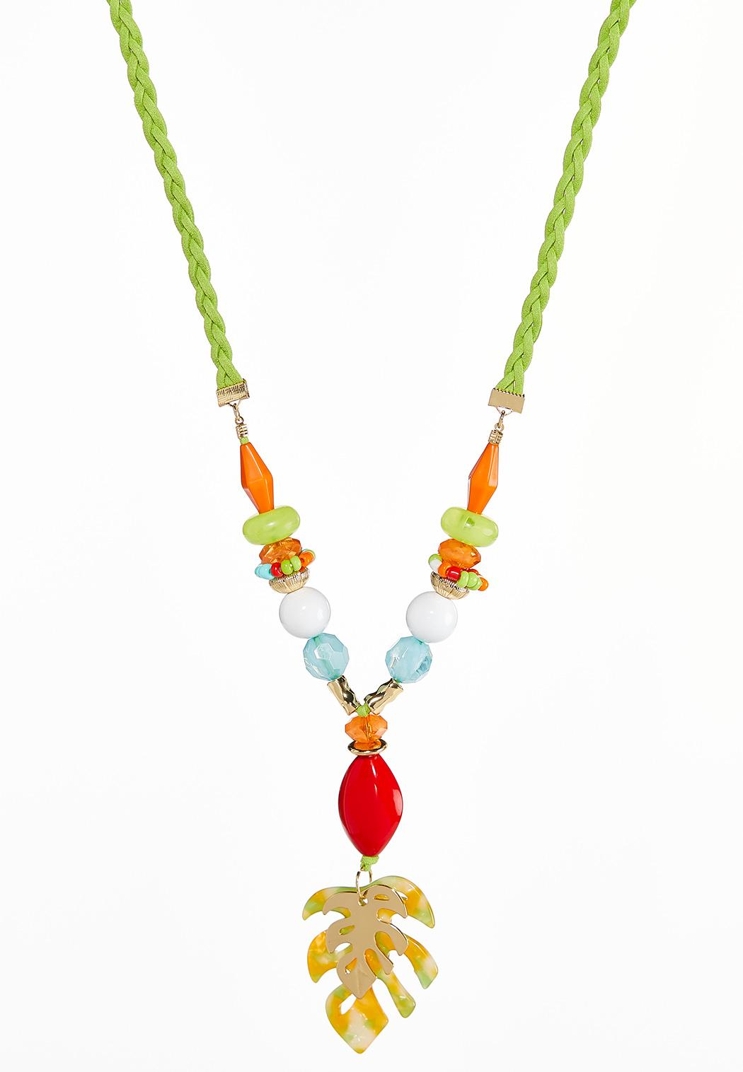 Palm Leaf Pendant Rope Necklace