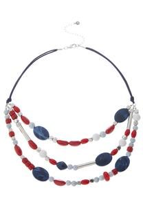 Red White Blue Cord Necklace