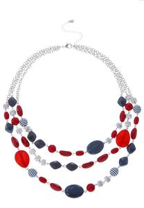 Red White Blue Layered Necklace