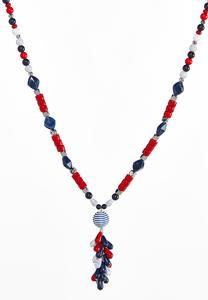 Red White Blue Cluster Bead Necklace