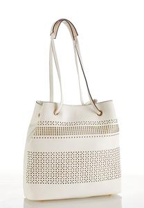 Laser Cut Ivory Bucket Bag