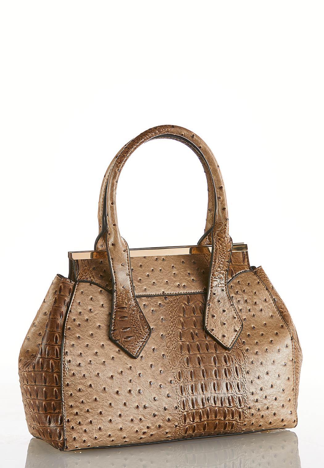 Faux Ostrich Metal Frame Shoulder Bag
