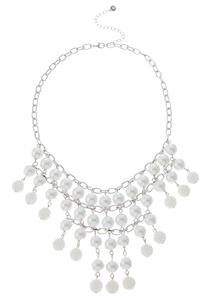 Shaky Linear Pearl Bib Necklace