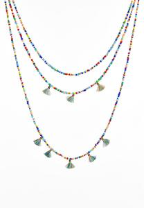 Rainbow Bead Tasseled Layered Necklace