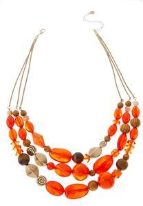 Orange Multi Chunky Bead Necklace