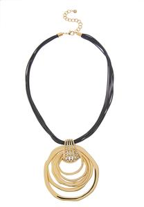 Layered Ring Chunky Cord Necklace