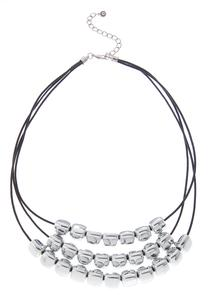 Silver Bead Layered Cord Necklace