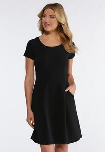 Front Pocket Fit And Flare Dress
