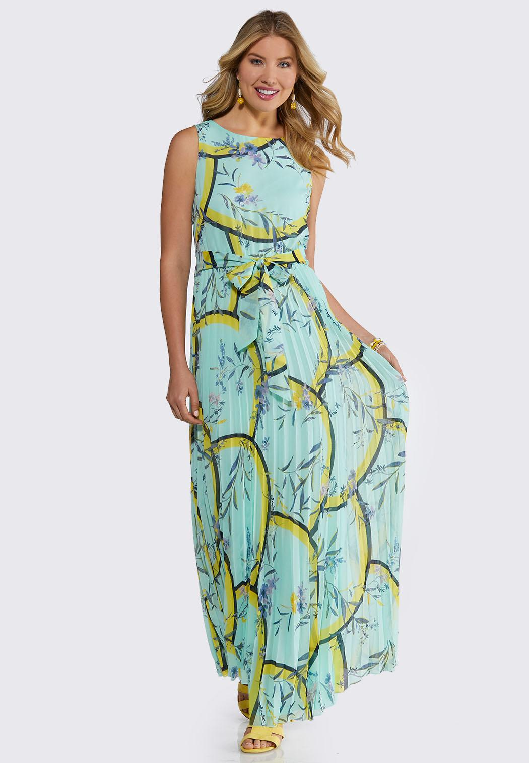 aae24b2b6ca Petite Pleated Tie Waist Maxi Dress Junior Misses Cato Fashions