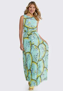 Petite Pleated Tie Waist Maxi Dress