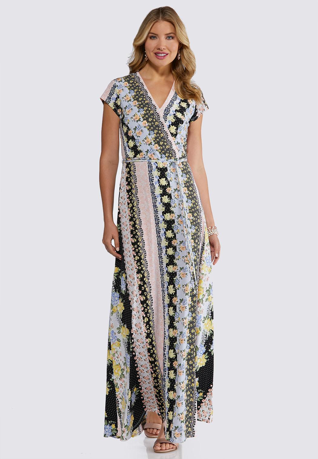 6a3ac7b2ea3fe Plus Petite Floral Stripe Maxi Dress Dresses Cato Fashions