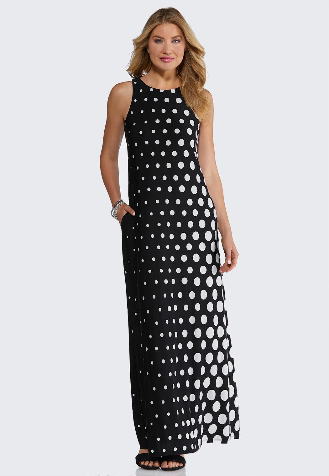 Petite Modern Polka Dot Maxi Dress
