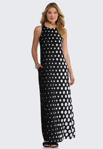 Petite Modern Polka Dot Maxi Dress