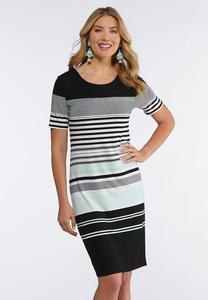 Plus Size Stripe Midi Dress