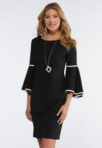 Plus Size Contrast Bell Sleeve Shift Dress