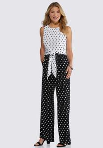 Plus Size Polka Dotted Tie Waist Jumpsuit