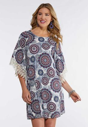 Plus Size Medallion Crochet Trim Dress