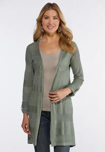 Plus Size Multi Stitch Duster Cardigan