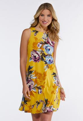 Gold Floral Swing Dress