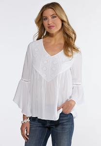 White Embellished Bell Sleeve Top