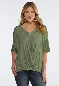 Ribbed Twist Front Top