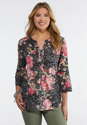 Plus Size Burnout Flutter Sleeve Top