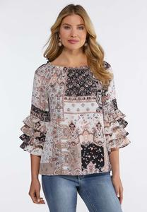 Plus Size Patchwork Ruffled Sleeve Top