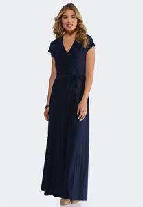 Petite Navy Tie Waist Maxi Dress