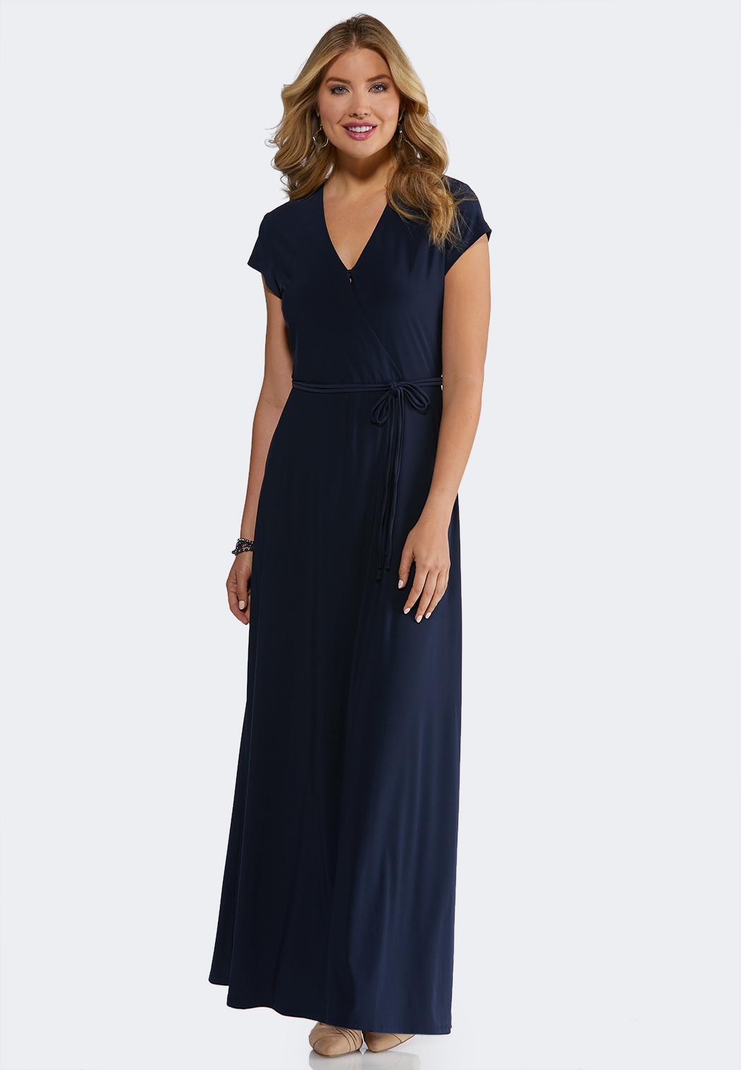 734327d95ca Petite Navy Tie Waist Maxi Dress Junior Misses Cato Fashions