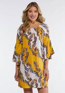 Plus Size Gold Paisley Peasant Dress