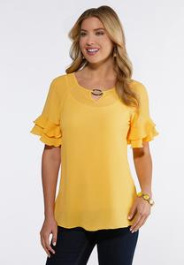 Plus Size Embellished Ruffled Sleeve Top