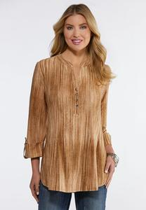 Plus Size Tan Textured Stripe Top