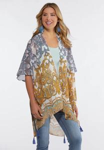 Gold And Blue Paisley Kimono