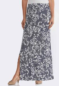 Plus Size Puff Floral Stripe Maxi Skirt