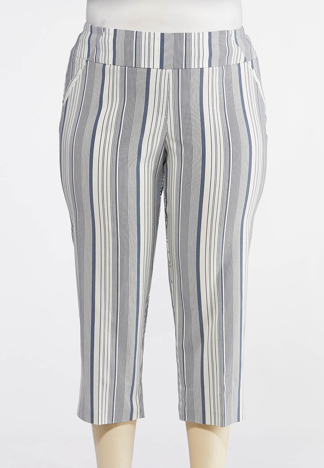 ccd411c0bef Plus Size Blue Stripe Bengaline Crops Cropped Pants Cato Fashions