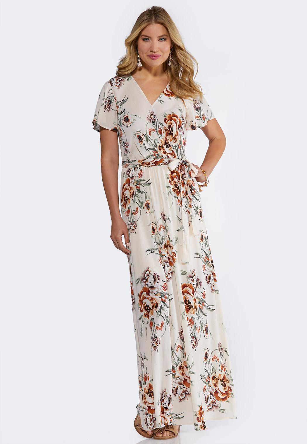 3a6b009d9b48 Plus Size Ivory Floral Maxi Dress Dresses Cato Fashions