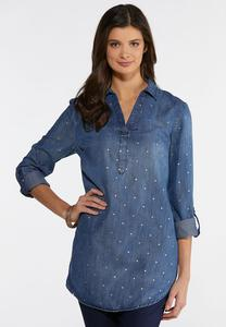 Plus Size Foiled Dot Chambray Tunic